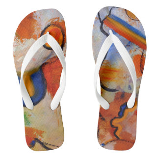 OvertheMoon Art Abstract Flip Flops Wide Straps