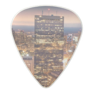 Overview of Boston at night Acetal Guitar Pick