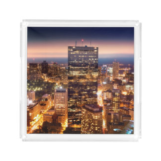 Overview of Boston at night Acrylic Tray
