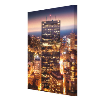 Overview of Boston at night Canvas Print