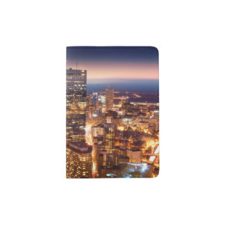 Overview of Boston at night Passport Holder