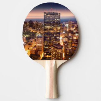 Overview of Boston at night Ping Pong Paddle