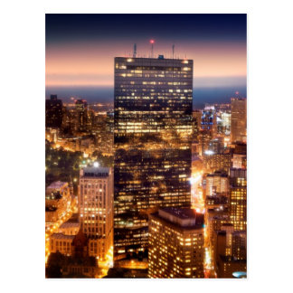 Overview of Boston at night Postcard