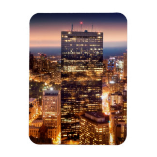 Overview of Boston at night Rectangular Magnets