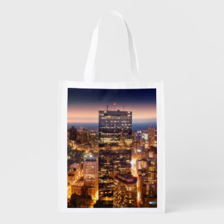 Overview of Boston at night Reusable Grocery Bag