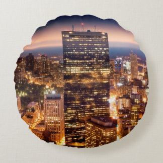 Overview of Boston at night Round Cushion