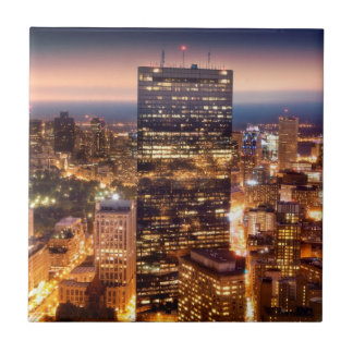 Overview of Boston at night Tile