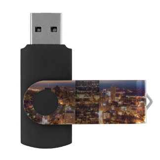 Overview of Boston at night USB Flash Drive