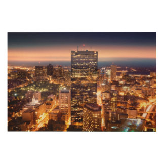 Overview of Boston at night Wood Canvases