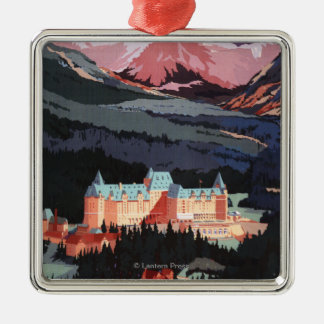 Overview of the Banff Springs Hotel Poster Christmas Ornament