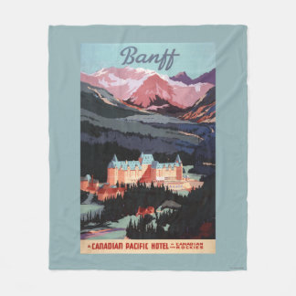 Overview of the Banff Springs Hotel Poster Fleece Blanket