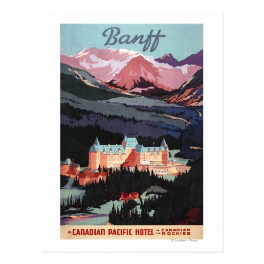 Overview of the Banff Springs Hotel Poster Postcard