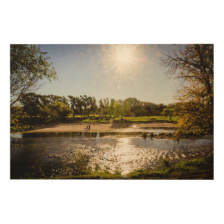 Overview Of The Banks Of A River With Clear Sky Wood Wall Decor