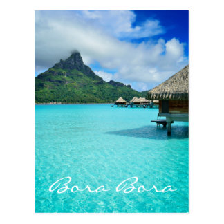 Overwater bungalow, Bora Bora vertical text card Postcard