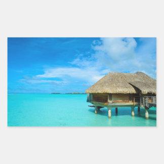 Overwater bungalow on Bora Bora Rectangular Sticker