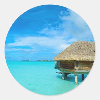 Overwater bungalow on Bora Bora Round Sticker