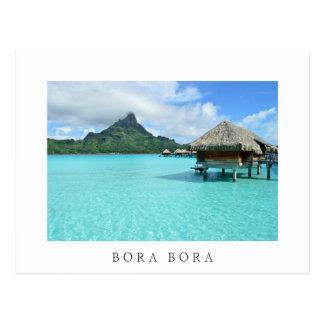 Overwater resort on Bora Bora white text postcard