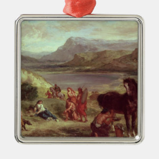 Ovid among the Scythians, 1859 Silver-Colored Square Decoration