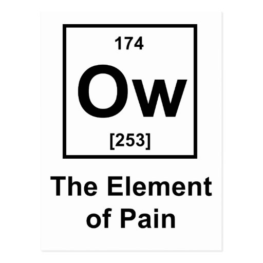 Ow, The Element of Pain Post Cards