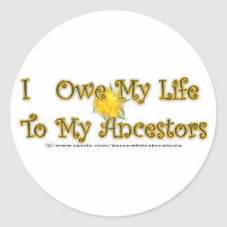 Owe My Life To Ancestors Stickers