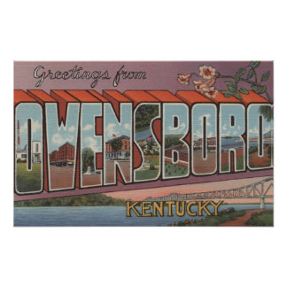 Owensboro, Kentucky - Large Letter Scenes Poster