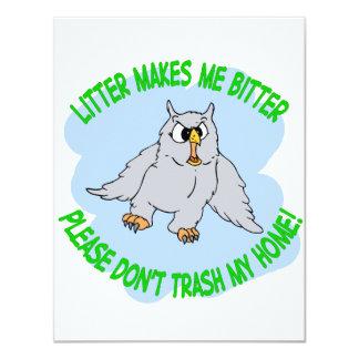 owl 11 cm x 14 cm invitation card