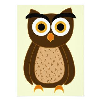 Owl 14 Cm X 19 Cm Invitation Card