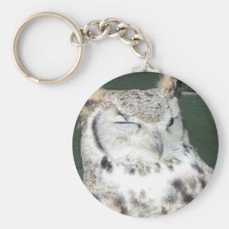 Owl 1 basic round button key ring