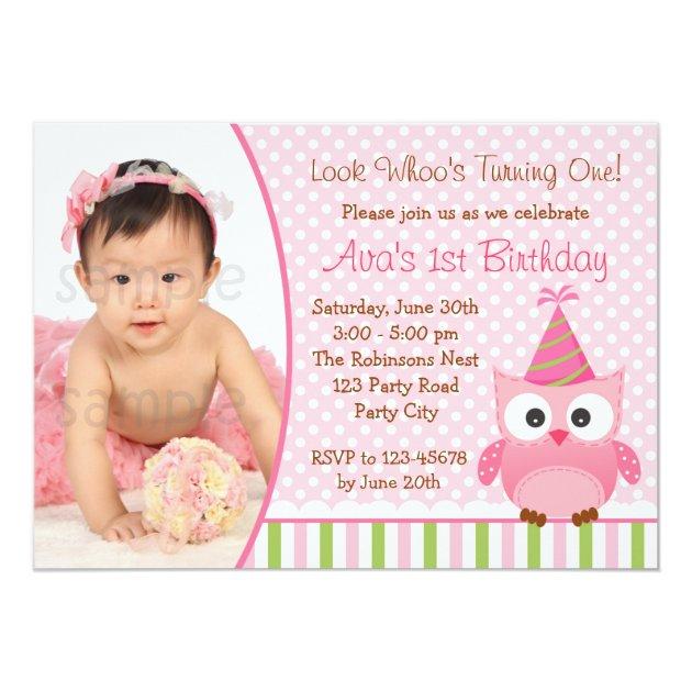 Owl 1st Birthday Invitation With Photo For Girls Zazzle