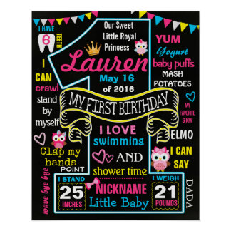 Owl 1st Birthday Party Chalkboard Sign poster