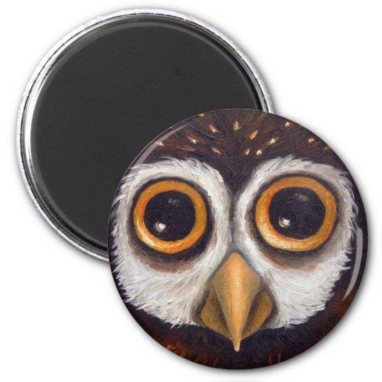 owl 6 cm round magnet