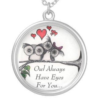 Owl Always Have Eyes For You - Sterling Silver nec Round Pendant Necklace