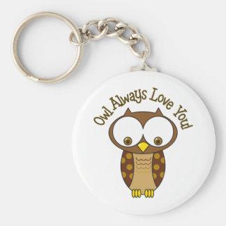 Owl Always Love You Basic Round Button Key Ring