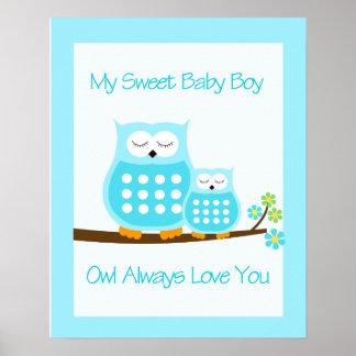 OWL Always Love you (Blue)  WALL ART PRINT 16x20