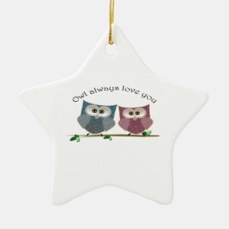 Owl always love you, cute Owls art Christmas Ornament