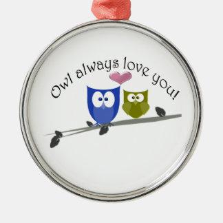 Owl always love you, cute Owls Art Christmas Ornament