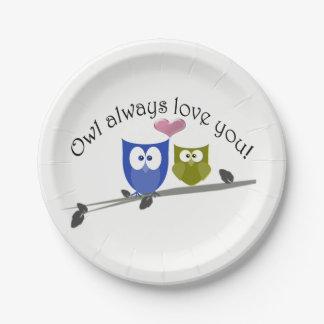 Owl Always Love You, cute Owls Art Paper Plate
