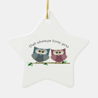 Owl always Love You, Pink and Blue Cute Owls Art Christmas Ornament