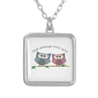 Owl always Love You, Pink and Blue Cute Owls Art Silver Plated Necklace