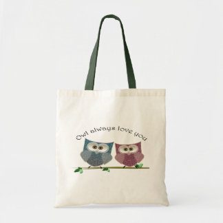 Owl always Love You, Pink and Blue Cute Owls Art Tote Bag