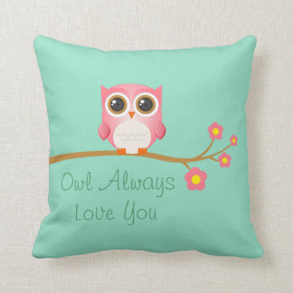 Owl Always Love You Pink Owl On Seafoam Pillow Cushion