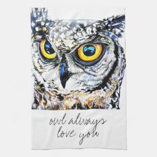 owl always love you tea towel