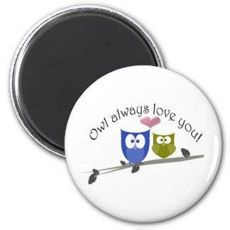 Owl always love you, with 3D heart Magnet