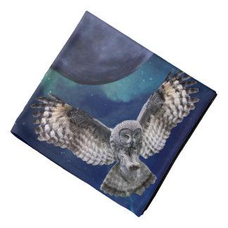 Owl and Blue Moon Spun Polyester Bandana