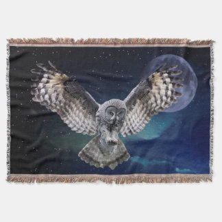 Owl and Blue Moon Throw Blanket