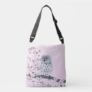 Owl And Cherry Blossoms Pink Gray Kids Crossbody Bag