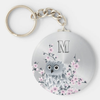 Owl And Cherry Blossoms Pink Silver Basic Round Button Key Ring