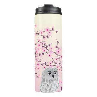 Owl And Cherry Blossoms Pink White Thermal Tumbler