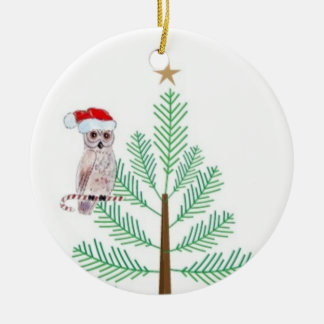 Owl and Christmas tree Circle Ornament