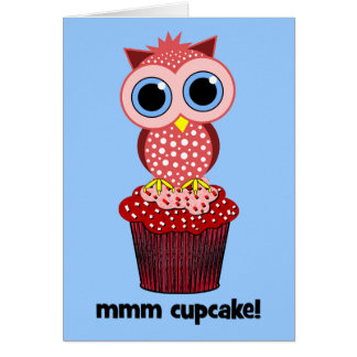 owl and cupcake greeting cards